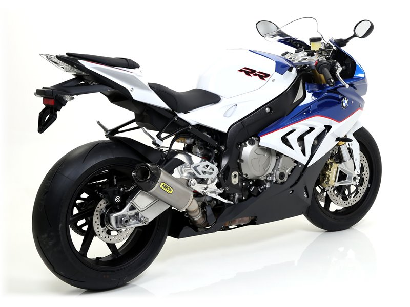 """Race-Tech aluminium """"White"""" silencer with carby end cap BMW S 1000 RR 2015-2016"""
