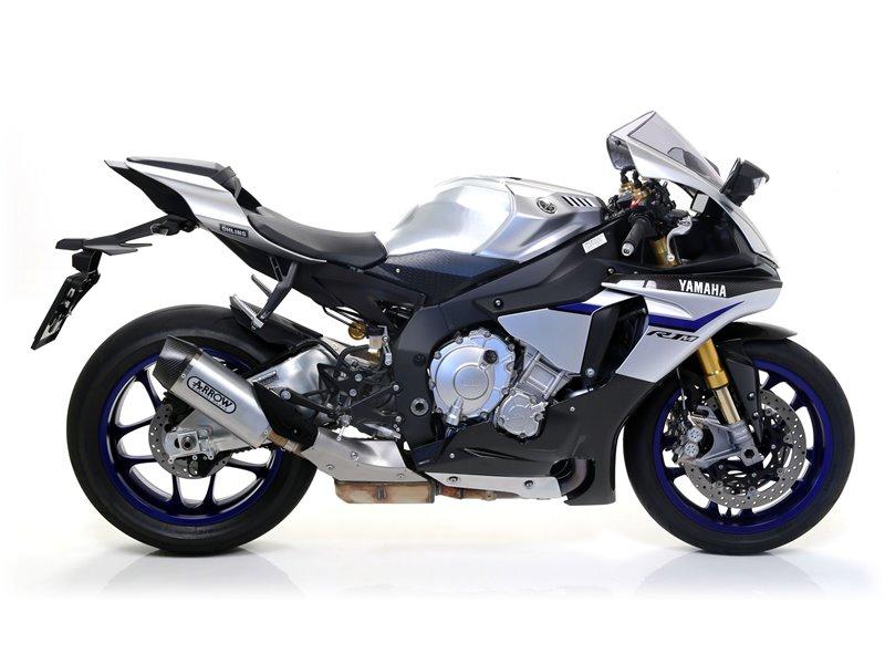 """Indy Race Aluminium """"Dark"""" silencer with carby end cap Yamaha YZF 1000 R1 2015-2016"""