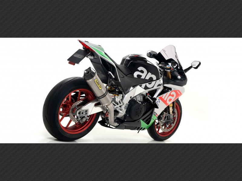 Race-Tech Approved titanium silencer with carby end cap Aprilia RSV 4 2009-2015 Arrow 71744PK