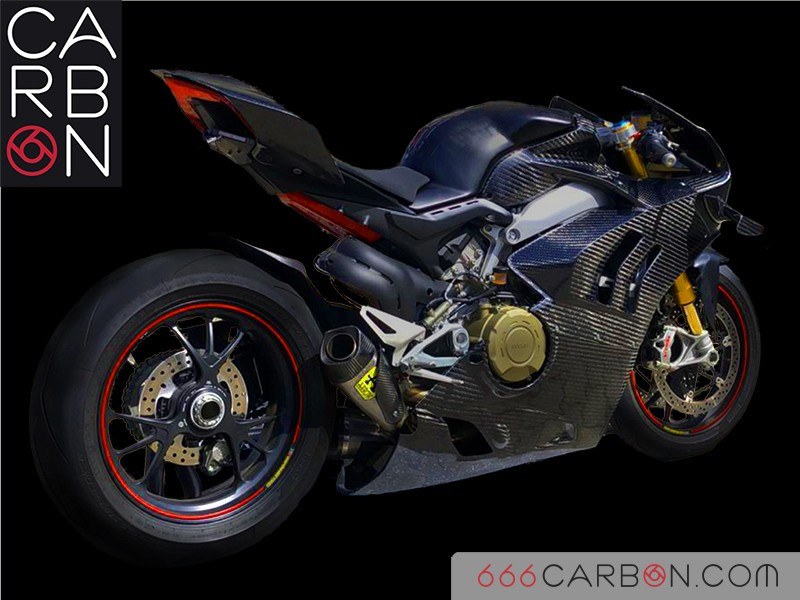 Complete carbon fairing Ducati Panigale V4s (transformation into v4r) 400 twill weave