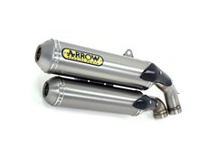 Round-Sil titanium road approved silencers (upper & lower) with carby end cap Ducati MONSTER S4R 2003-2006 Arrow 71662RK