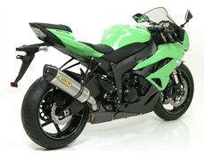 "Race-Tech aluminium ""White"" silencer with carby end cap Kawasaki ZX-6R 2009-2016 Arrow 71734AKB"