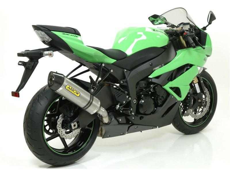"Race-Tech aluminium ""Dark"" silencer with carby end cap Kawasaki ZX-6R 2009-2016"